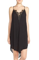 Women's Free People 'Parisian' High Low Crepe Chemise Black