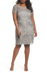 0b46bac72a7 Pisarro Nights Plus Size Women s Beaded Sheath Dress Silver