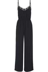 Goen J Lace Trimmed Pinstriped Crepe Jumpsuit Black