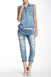 Lee Cooper Emma Slim Rolled Cuff Boyfriend Jean Blue