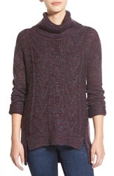 Junior Women's Bp. Marl Cable Knit Turtleneck Purple Nectar Theo Marl