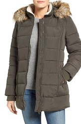 Larry Levine Women's Faux Fur Trim Quilted Parka Loden