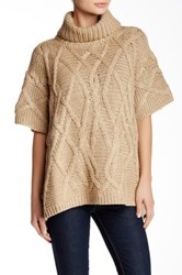 Love Token Cable Knit Poncho Beige