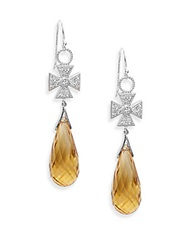 Jude Frances Champagne Citrine White Sapphire And Sterling Silver Cross Earrings