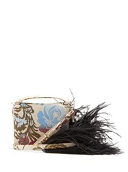 Marques Almeida Feather Strap Floral Jacquard Cross Body Bag White Multi