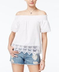 Almost Famous Juniors' Lace Trim Off The Shoulder Top White