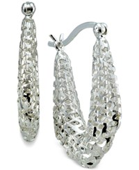 Macy's Mesh Style Oval Hoop Earrings In Sterling Silver