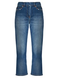 Valentino Rockstud Untitled 6 High Rise Boyfriend Jeans Light Denim