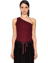 Nina Ricci One Shoulder Wool Rib Knit Top