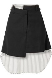 Monse Paneled Asymmetric Wool Blend Drill And Striped Cotton Voile Mini Skirt Black