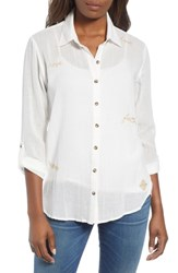 Wit And Wisdom Embroidered Button Down Shirt Off White