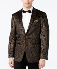 Tallia Men's Slim Fit Black And Gold Paisley Evening Jacket Black Gold