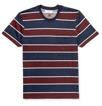 Ami Alexandre Mattiussi Slim Fit Striped Cotton Jersey T Shirt Blue