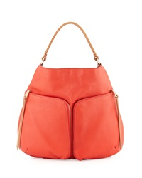 Christopher Kon Double Front Pocket Hobo Bag Tomato