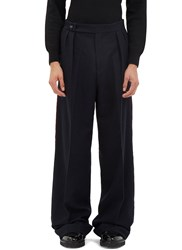 Yang Li Serged Seam Pinstripe Wide Leg Pants Navy