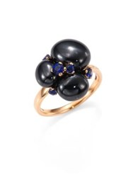 Pomellato Blue Sapphires Ceramic And 18K Rose Gold Ring Rose Gold Blue Sapphire