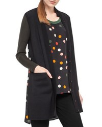 Akris Punto Long Wool Cardigan With Silk Dot Print Back Black