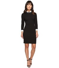 Ivanka Trump Long Sleeve Scuba Crepe Dress With Lace Trim Details Black Ivory Women's Dress