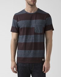 Element Flecked Navy And Bordeaux Striped Austin R Shirt With Chest Pocket Blue