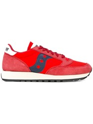 Saucony Lateral Patch Lace Up Sneakers Men Calf Leather Polyester Rubber 8 Red