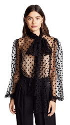 Costarellos Tulle Blouse With Bishop Sleeves Black