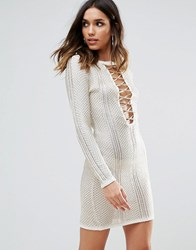 Wow Couture Metallic Crochet Dress With Lace Up Detail Ivory White