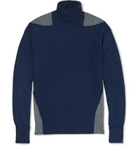 Alexander Mcqueen Two Tone Wool Silk And Cashmere Blend Rollneck Sweater Blue
