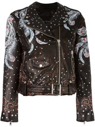 Htc Hollywood Trading Company Feather Print Biker Jacket Black