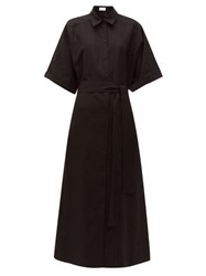 Raey Dolman Sleeve Silk Blend Shirtdress Black