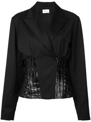 Thierry Mugler Leather Insert Blazer Women Lamb Skin Virgin Wool 38 Black