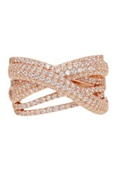 18K Rose Gold Plated Sterling Silver X Interlocked Cz Accented Ring