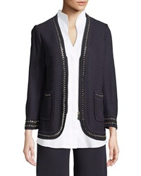 Misook Chain Detail Knit Jacket Navy