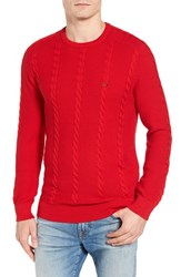 Lacoste Men's Cable Knit Sweater Red