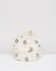 Asos Design Bridal Pearl Embellished Pouch Clutch Bag White