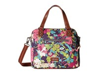 Sakroots Artist Circle Crossbody Satchel Violet Flower Power Satchel Handbags Brown