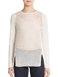 Elie Tahari Jacqueline Wool And Cashmere Open Knit Pullover Fresh Pear
