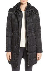 Vince Camuto Women's Knit Trim Hooded Down And Feather Fill Coat