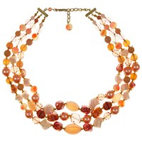 Eclectica Vintage 1950S 3 Row Gold Plated Mix Glass Bead Layered Necklace Peach Pink
