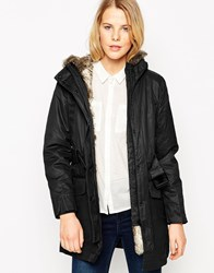 Mango Coated Hooded Parka With Detachable Faux Fur Lining Black