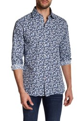 Psycho Bunny Floral Printed Long Sleeve Trim Fit Shirt Blue