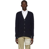 Thom Browne Navy Baby Cable Knit V Neck Cardigan