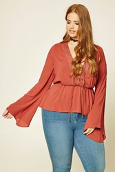 Forever 21 Plus Size Crochet Trimmed Top