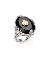 Judith Ripka Trellis Black Onyx White Sapphire 14K Yellow Gold And Sterling Silver Oval Garland Cocktail Ring Black Multi