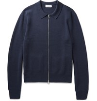 Enlist Enlit Merino Wool Zip Up Cardigan Navy