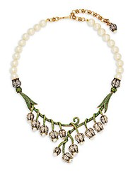 Heidi Daus Hanging Flower Faux Pearl And Crystal Necklace Green