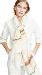 Tory Burch Canyon Stripe Blanket Scarf New Ivory