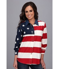 Roper L S Stars And Stripes Pieced Flag Red 2 Women's Long Sleeve Button Up