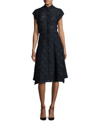 Zero Maria Cornejo Adi Cap Sleeve Check Shirtdress Black Pattern