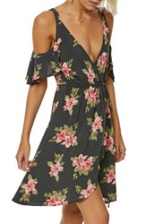 O'neill Cecelai Floral Cold Shoulder Wrap Dress Asphalt