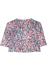 Suno Floral Print Cotton Blend Faille Top Red